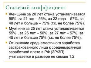 Расчет стажевого коэффициента по списку 2