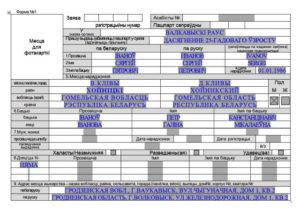 Заполнение формы 1 на паспорт рб