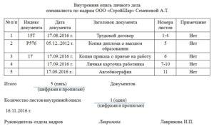 Опись документов в личном деле работника образец