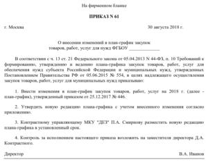 Приказ на внесение изменений в план закупок по 44 фз 2019 году