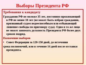 Требования к кандидату в президенты в россии
