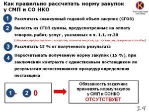Как правильно рассчитать 15 для смп по 44 фз пример