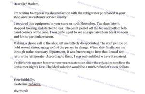 Письмо жалоба на английском языке образец с переводом